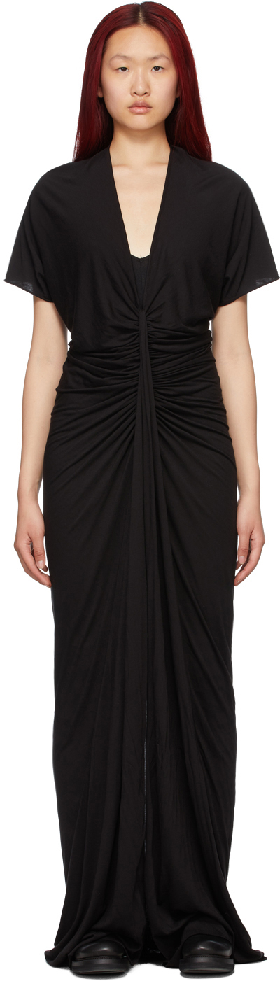 Rick Owens Lilies 黑色 V 领连衣裙