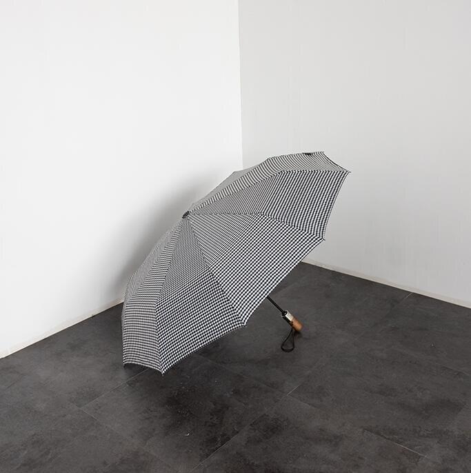 雨傘格子控bi入 全自動折疊雨傘黑膠防曬晴雨兩用女【快速出貨】