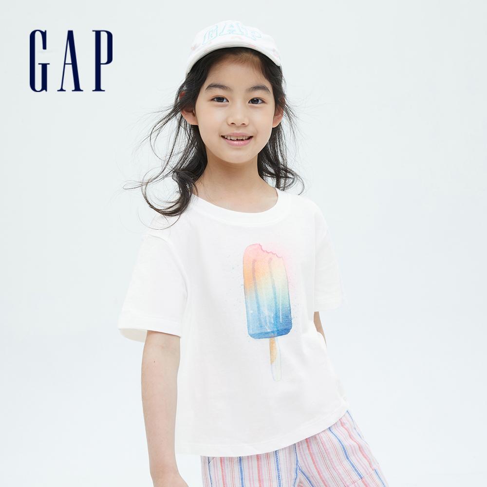 Gap 女童 純棉印花短袖T恤 833947-白色