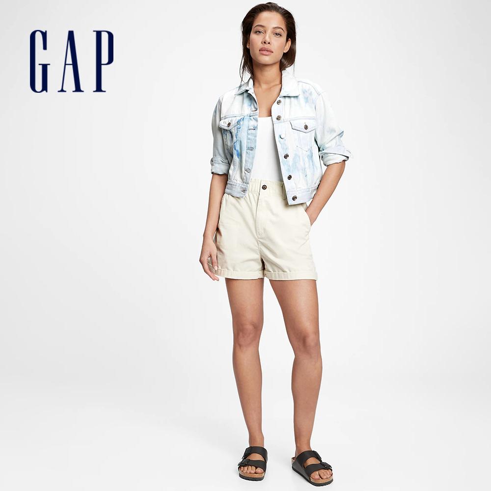 Gap 女裝 時尚紮染水洗牛仔外套 683493-藍色紮染