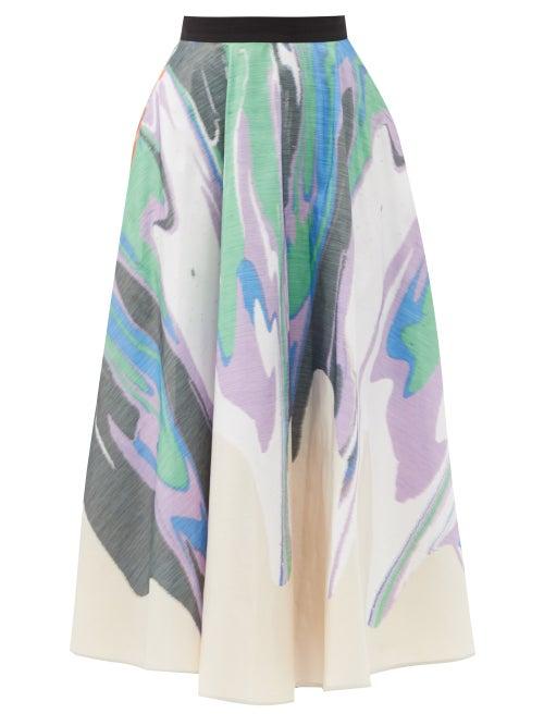 Roksanda - Tamarine Swirl-print Skirt - Womens - Beige Multi