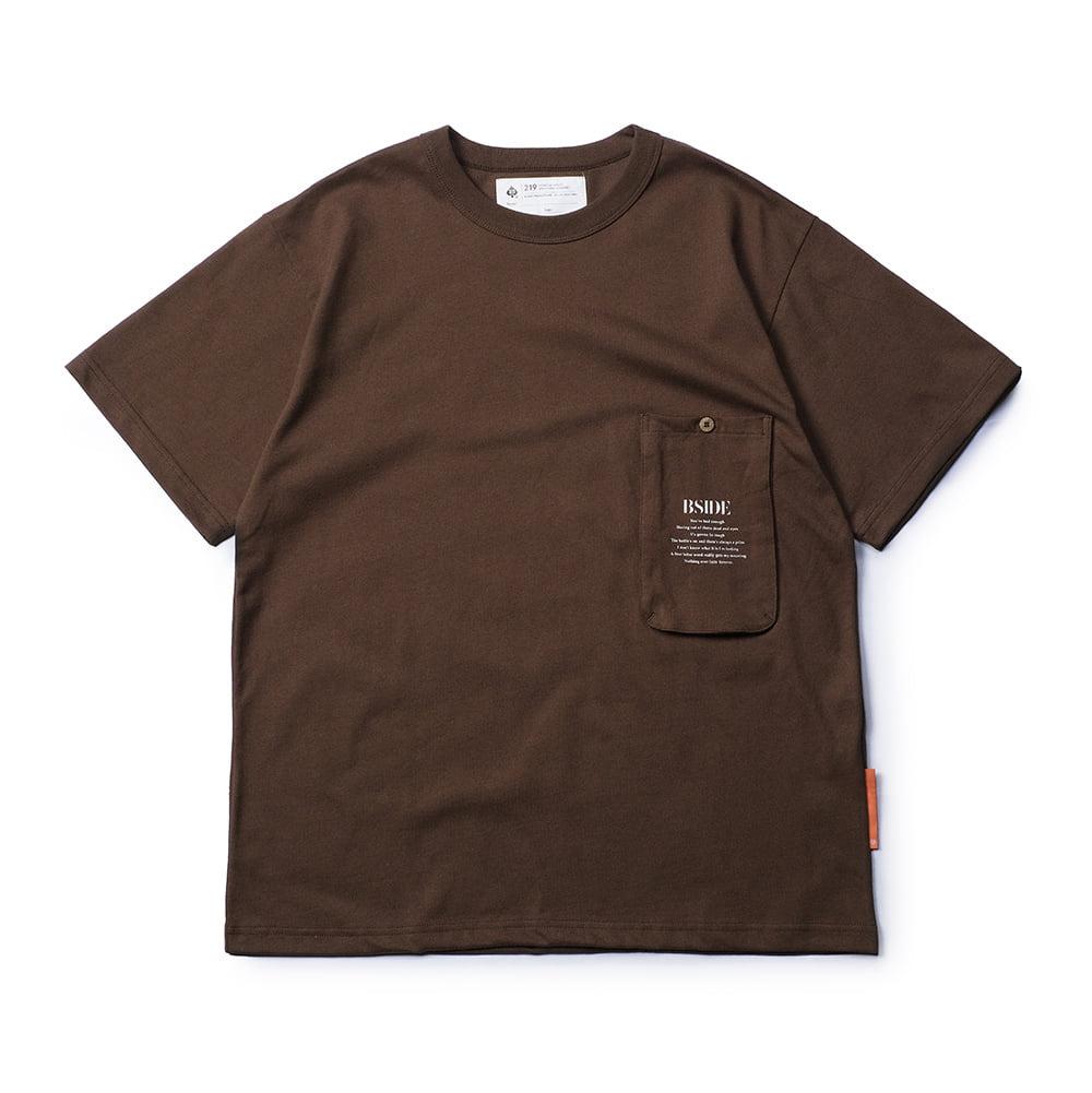 B-SIDE - 21-2 LONG POCKET TEE 長型立體口袋 短T (咖啡)