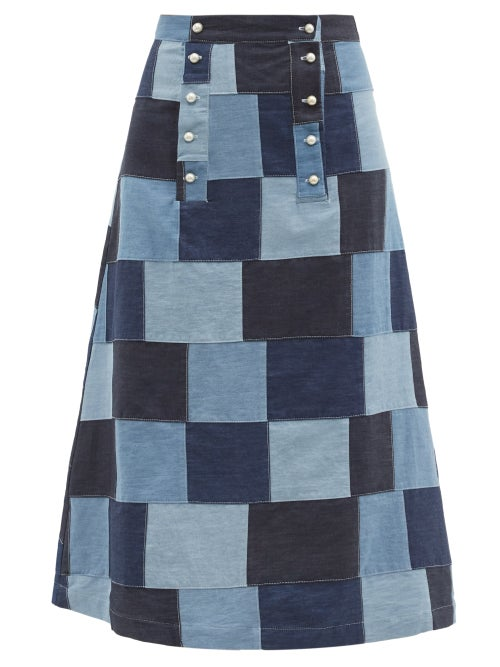 Batsheva - Suffragette High-rise Patchwork-denim Skirt - Womens - Mid Denim