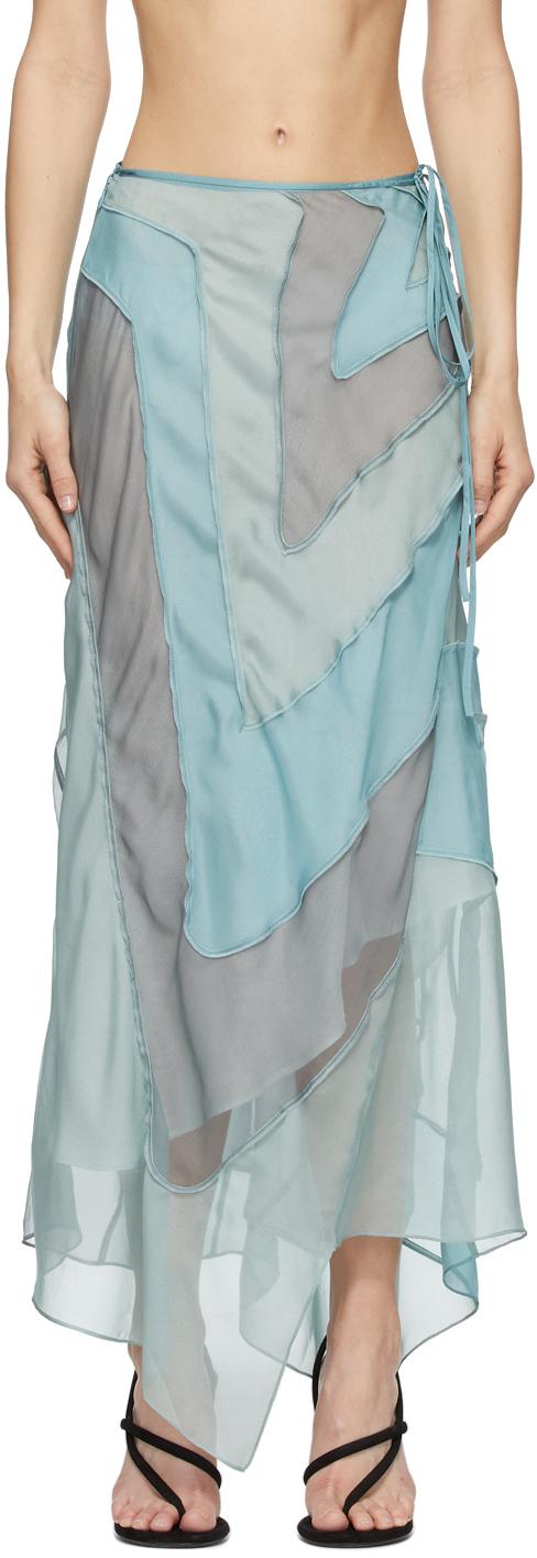 Acne Studios 蓝色 Ben Quinn 联名真丝半身裙