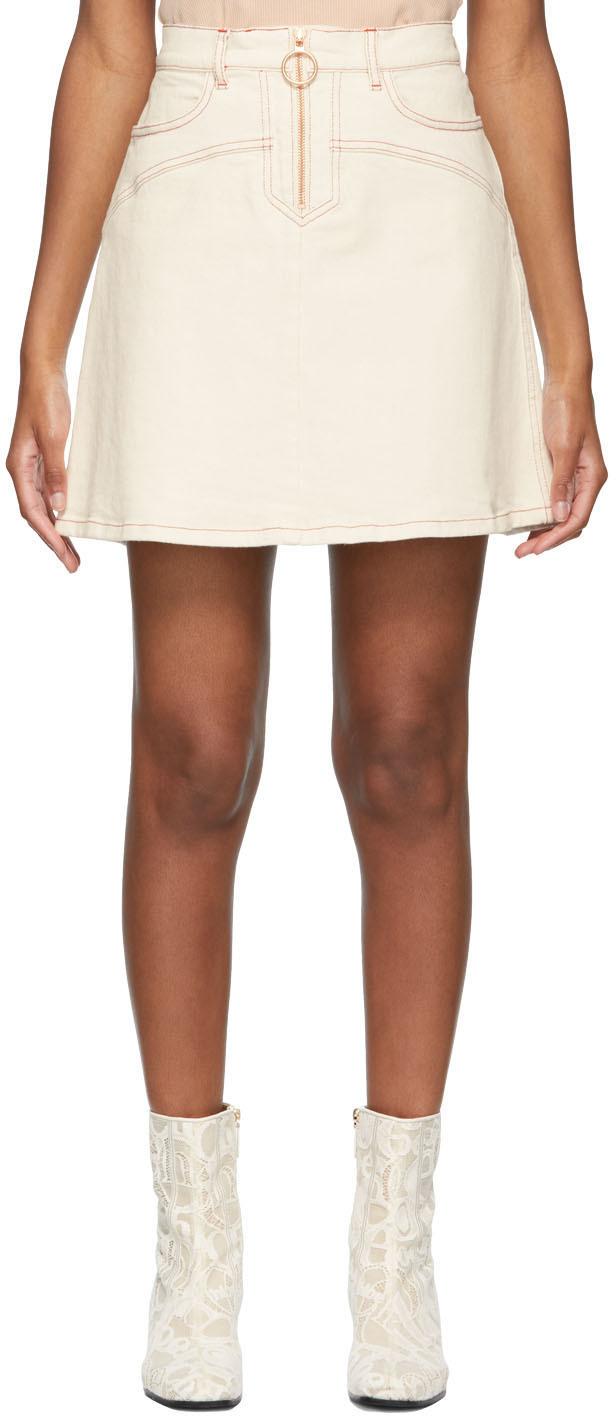 See by Chloé 灰白色撞色缝线牛仔短裙