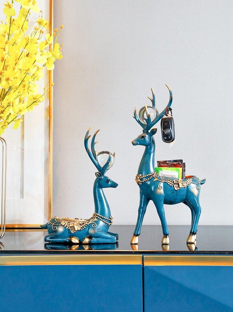 北歐擺件進門口放鑰匙收納創意情侶麋鹿電視柜裝飾品喬遷新居禮物