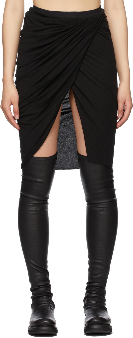 Rick Owens Lilies 黑色不对称裹身短裙