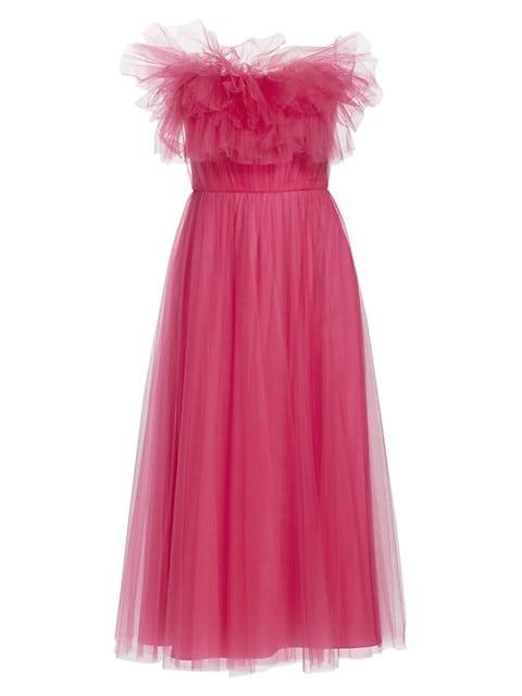 Strapless Raw Edge Ruffle Tulle Dress