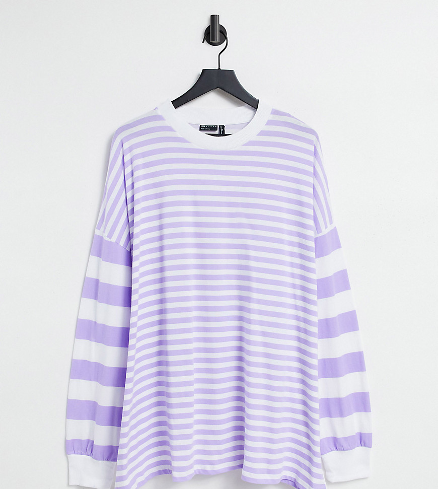 ASOS DESIGN Tall oversized long sleeve t-shirt with cutabout stripe in lilac-Purple