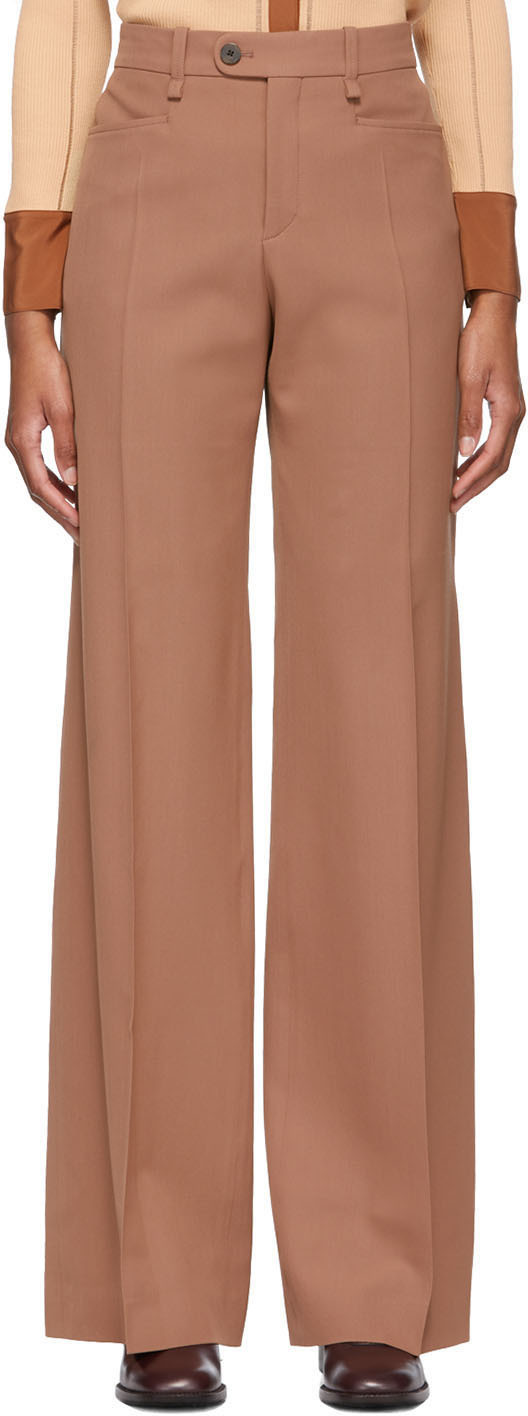 Chloé 棕色 Flared 初剪羊毛长裤