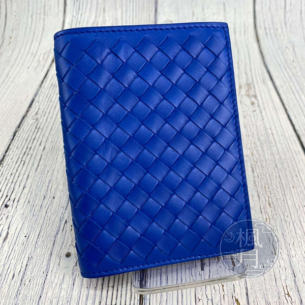 BRAND楓月 Bottega Veneta 寶藍 編織二折短夾 羊皮 錢包 皮夾 錢夾 簡約 經典造型 萬用百搭