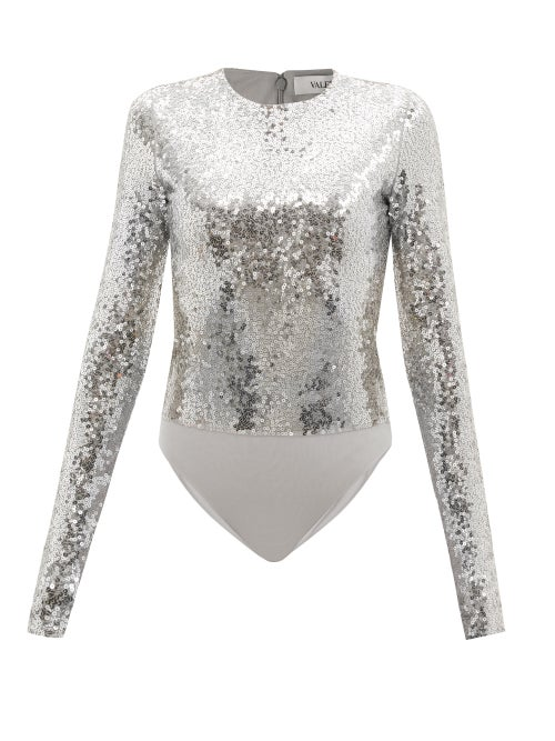 Valentino - Sequinned Jersey Bodysuit - Womens - Silver
