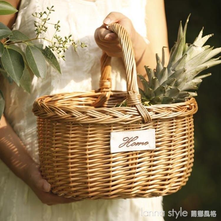 【九折】手工柳編編織戶外野餐籃手提購物籃水果籃子竹編竹籃收納筐小籃子