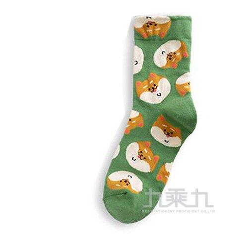 韓國中筒襪-滿版狗狗(綠底)