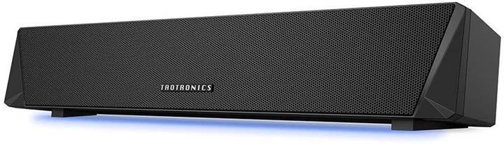 【日本代購】TaoTronics PC 揚聲器 Bluetooth 5.0 音箱 面向遊戲 帶LED燈 高音質 雙無源輻射器 小型 黑色