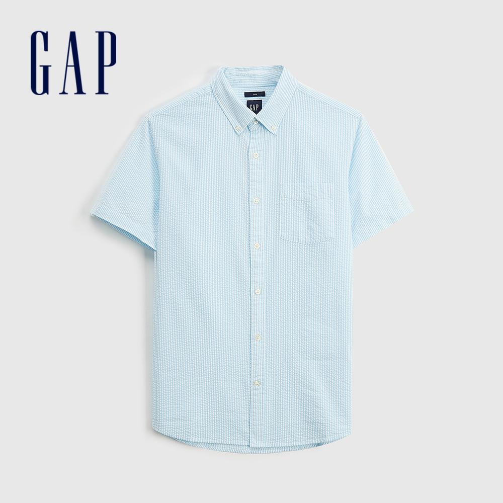 Gap 男裝 通勤純棉輕薄短袖襯衫 695864-湖綠條紋