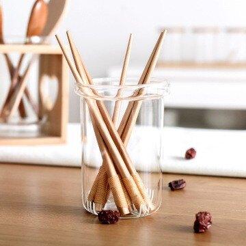日式筷籠 筷子架 玻璃透明筷子筒 簡約 竹木筷架置物架 家用筷子盒 置物架餐具收納 家用 廚房餐具勺子