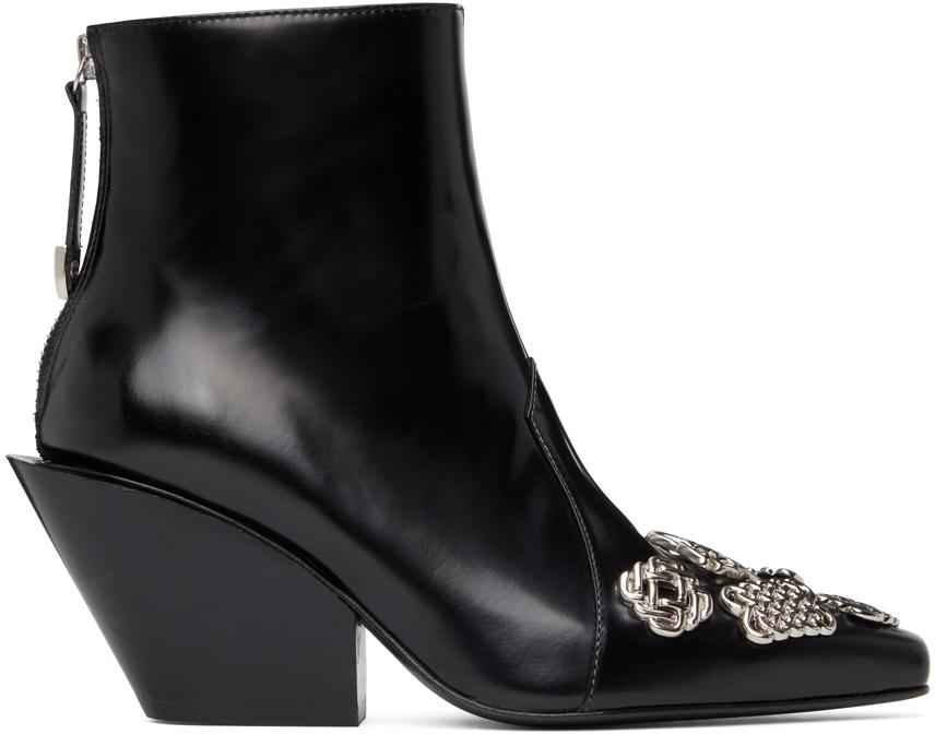 Toga Pulla 黑色 Embellished 踝靴