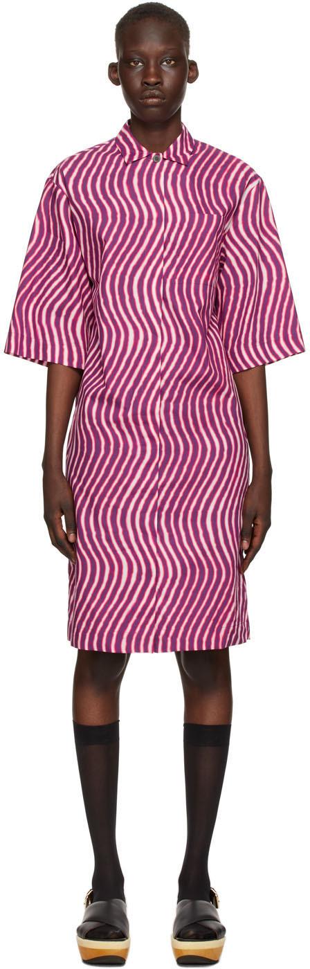 Dries Van Noten 紫色 & 粉色 Len Lye 联名图案连衣裙