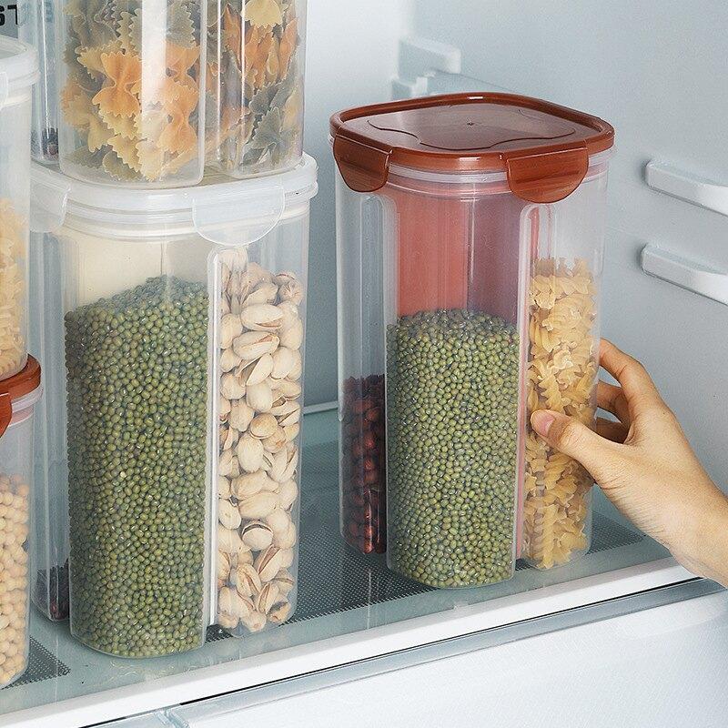 食品級  五穀雜糧分格收納盒 儲物罐 密封罐  冰箱保鮮罐 收納盒 透明分格 廚房收納 豆子 乾貨 糧食儲物罐