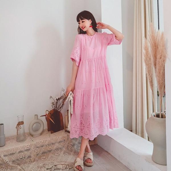 度假洋裝長裙刺繡甜美中長款很仙娃娃裙鏤空簡約大擺蕾絲連身裙三色NE603紅粉佳人