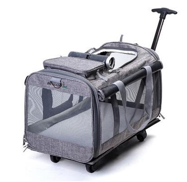 貓包拉桿箱外出便攜大容量兩只大號外帶裝貓袋透氣寵物狗包寵物包「時尚彩紅屋」