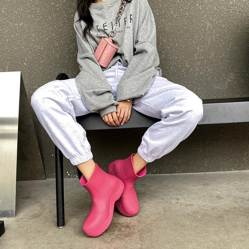雨鞋女 阿希哥MONA網紅同款雨鞋厚底切爾西短筒靴牛油果雨靴水鞋時尚外穿 【CM5063】
