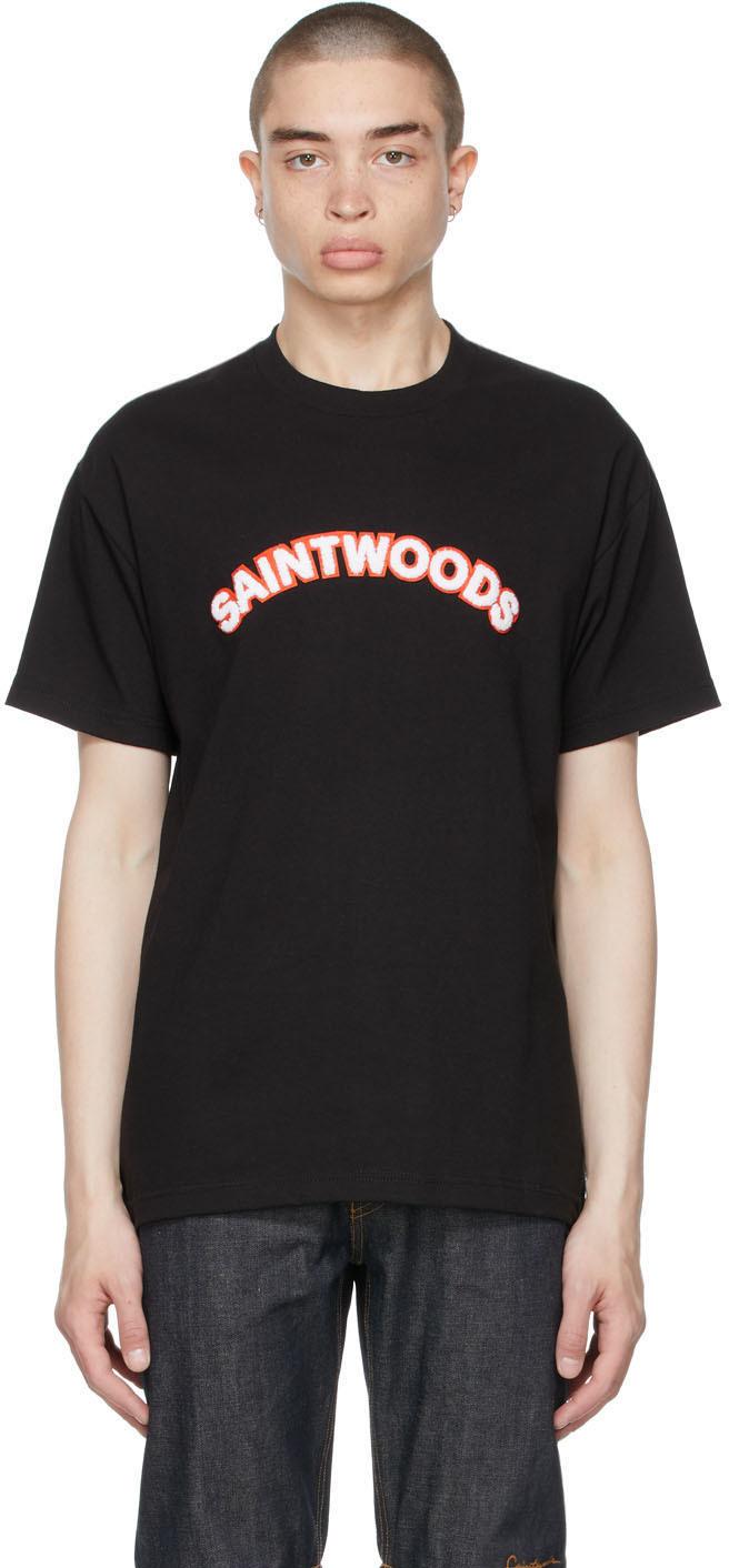 Saintwoods 黑色 Chenille Logo T 恤