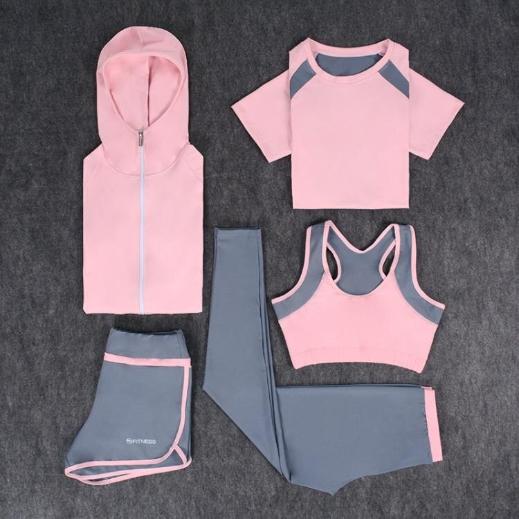 瑜伽服時尚健身房運動套裝女夏天晨跑步速干衣顯瘦大碼健身服