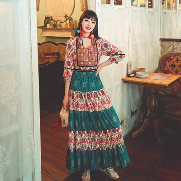 長裙 波西米亞洋裝民族風重工刺繡大擺印花拼色度假連身裙NE603韓衣裳