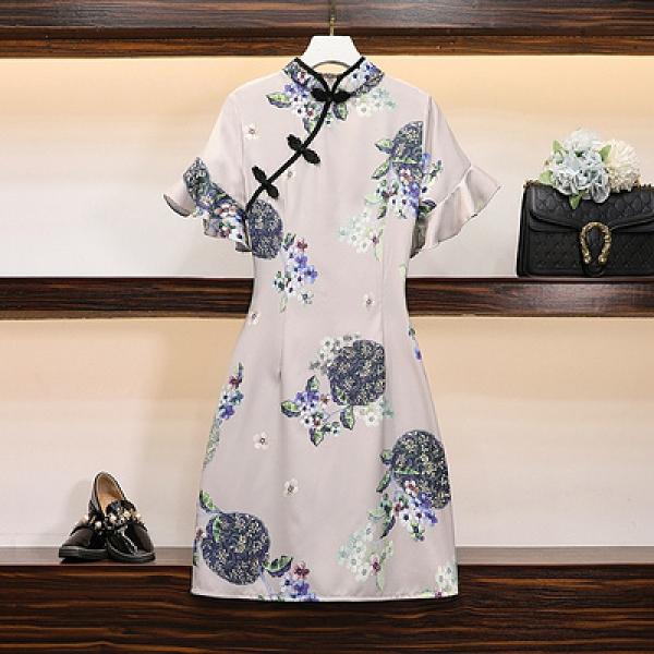 洋裝旗袍~改良少女中長年輕款甜美中國風民族風時尚連身裙M3F-C072胖妹大碼女裝