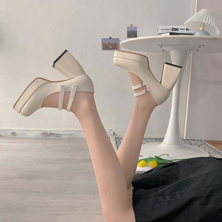 一字帶高跟單鞋女夏正韓百搭粗跟方頭法式復古瑪麗珍鞋潮