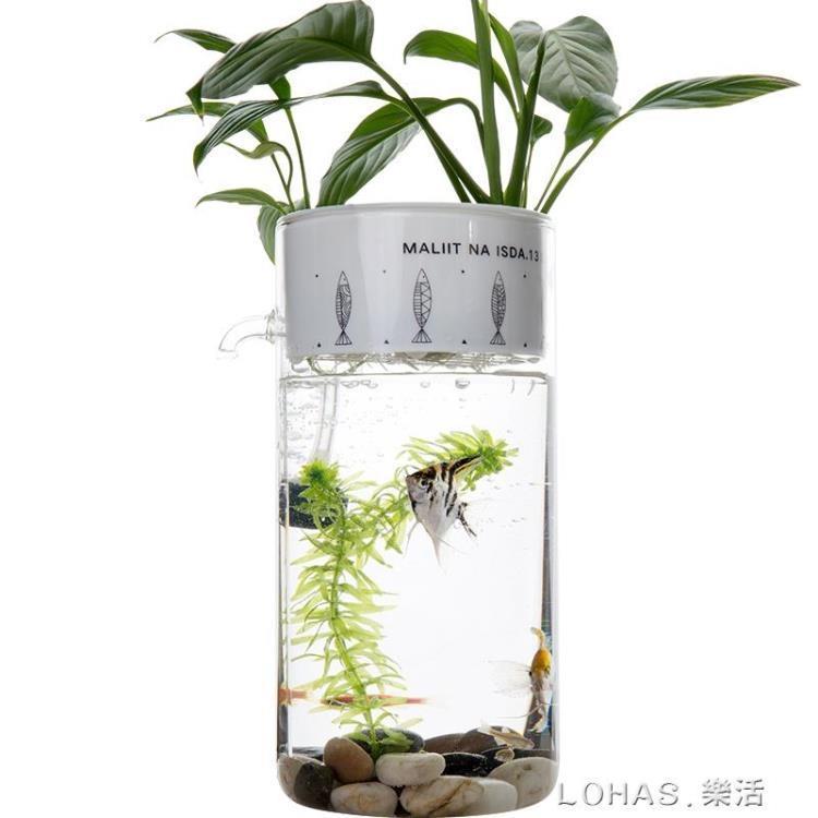 迷你家用創意懶人免換水小型水族辦公室桌透明玻璃生態小魚缸裝飾【免運】