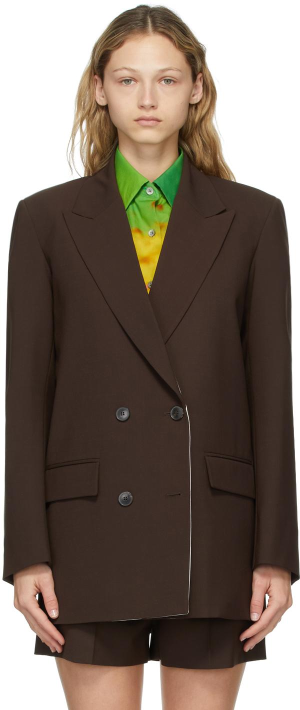 Valentino 棕色 Techno Toile 双排扣西装外套