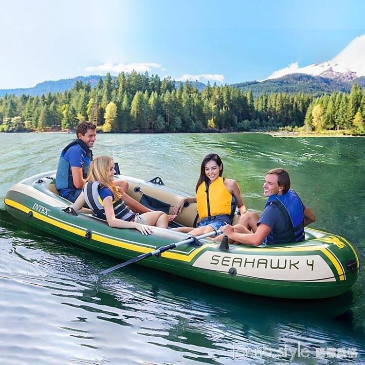 【九折】皮劃艇沖鋒舟釣魚船充氣船厚橡皮艇耐磨氣墊船2人3人4人  YTL