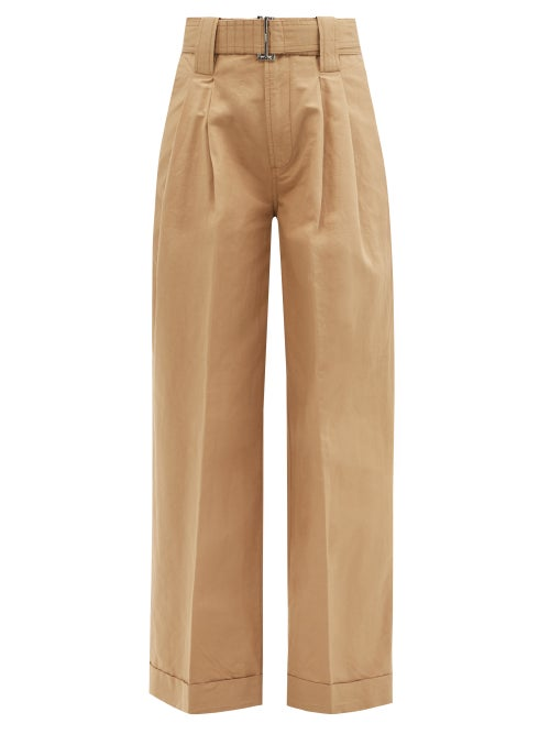 Ganni - Belted Pleated Organic Cotton-blend Trousers - Womens - Beige