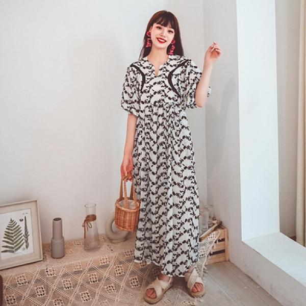 度假洋裝 旅遊 長裙定制重工蕾絲刺繡花朵高腰寬松娃娃衫款氣質連身裙NE603韓衣裳