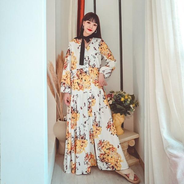 度假洋裝 旅遊 長裙法式復古印花領結腰帶長款晚禮服連身裙優雅長裙NE603韓衣裳