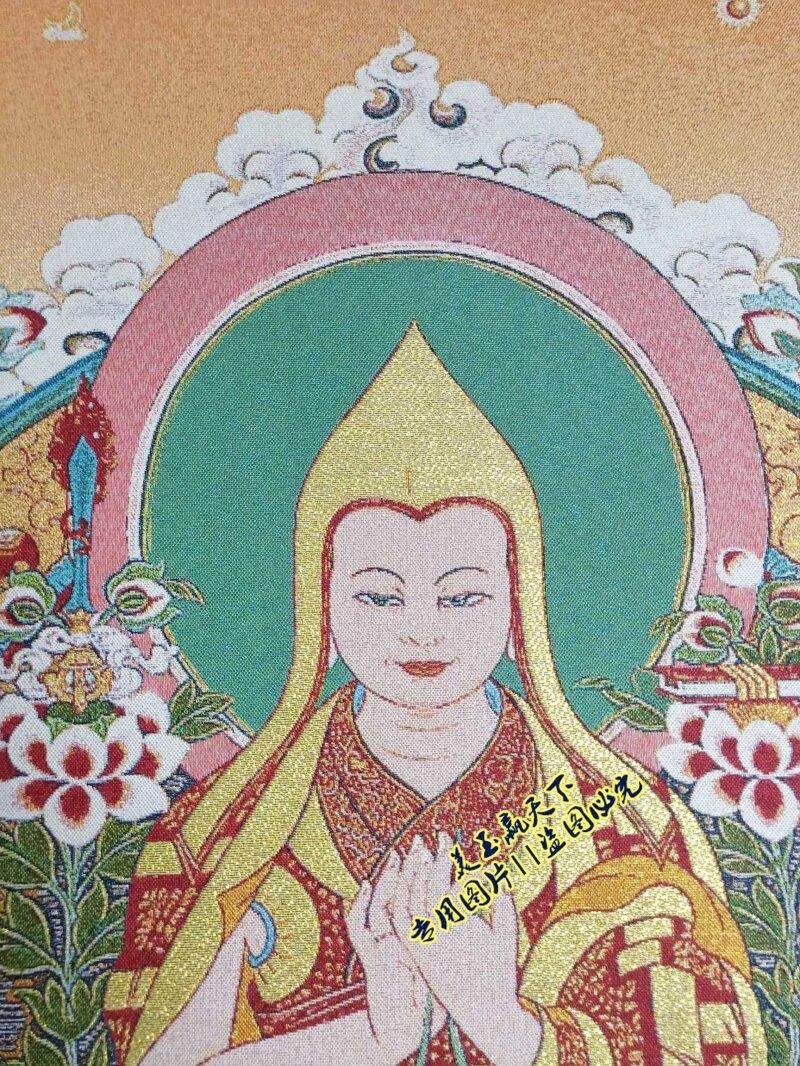 西藏唐卡佛像 織錦繡絲綢刺繡掛畫尼泊爾布畫中堂畫 宗喀巴大師像