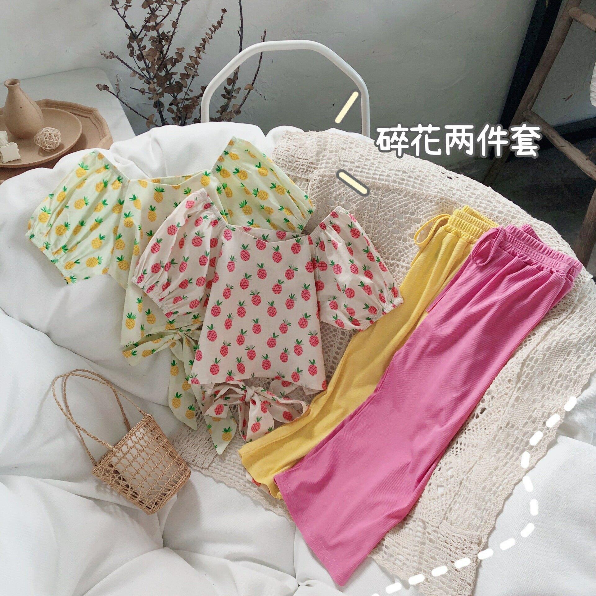 女童套裝2021夏季新款女寶甜美壓皺一字肩娃娃衫闊腿褲兩件套外貿