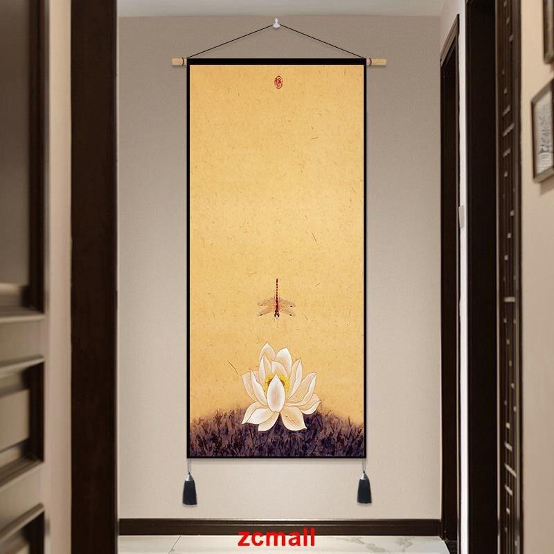 【全館免運】掛毯 客廳掛畫 禪意新中式抽象玄關裝飾畫掛畫客廳過道背景墻布藝壁毯餐廳墻壁畫