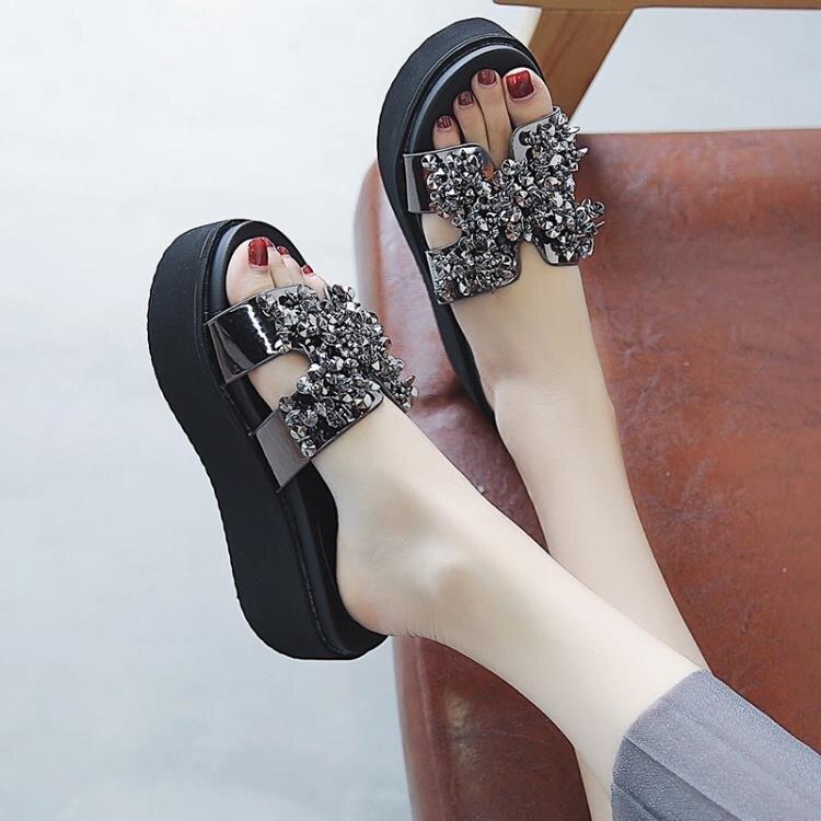 拖鞋女夏外穿ins潮2021新款鬆糕厚底坡跟涼鞋網紅增高高跟涼拖風 四季小屋