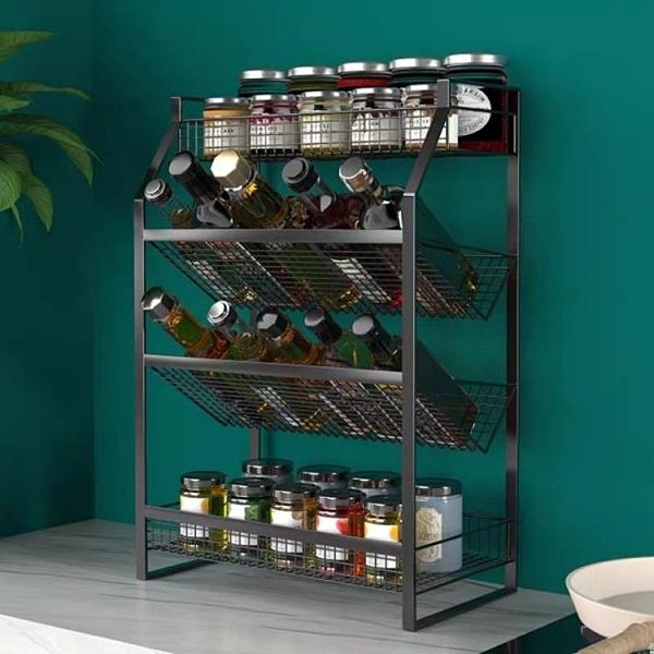 廚房置物架 廚房置物架多層油鹽醬醋調味收納架免打孔調料架儲物架多層整理架
