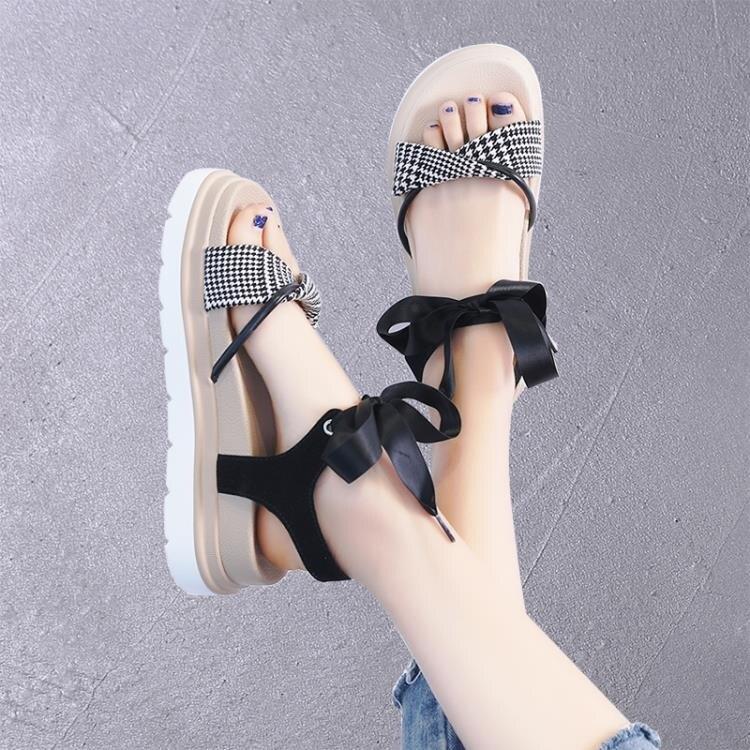 涼鞋女潮夏季厚底綁帶鞋子女時尚仙女風松糕涼鞋