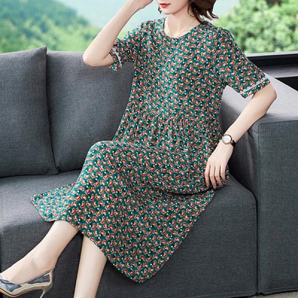 胖妹妹大碼洋裝連身裙~重磅真絲桑蠶絲連身裙女裝杭州大碼寬松氣質碎花裙子H360A1愛尚布衣
