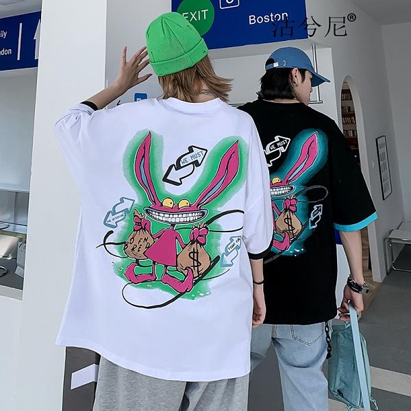 男生創意中袖T恤 2021情侶歐美寬鬆短袖T恤 塗鴉卡通街頭潮牌體恤T恤 潮流嘻哈印花T恤