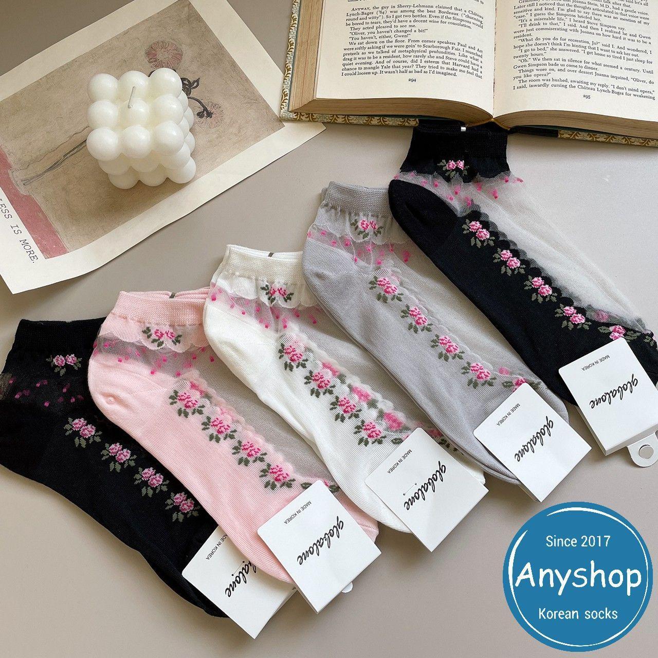 韓國襪-[Anyshop]玫瑰花透膚短襪