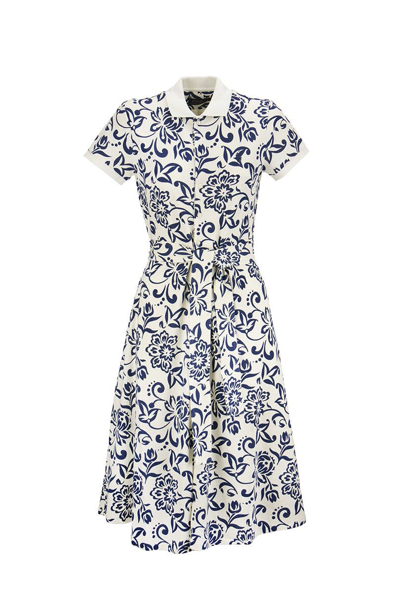RALPH LAUREN Floral Belted Cotton Dress