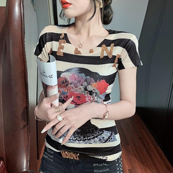 短袖T恤時尚印花短袖打底衫修身上衣女H450快時尚