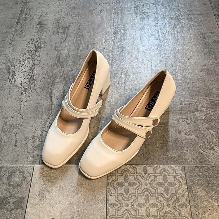 單鞋女秋冬小皮鞋黑色百搭粗跟性感瑪麗珍高跟工作鞋秋